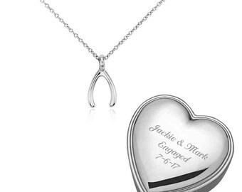 Sterling Silver Lucky Wishbone Pendant  Keepsake Box Engraved Free