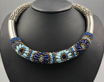 Beaded Torque Necklace - Vintage Boho Chic Turquoise Blue Cobalt Blue, Gold Silver, Floral Design, Native American Style, Tribal Chic
