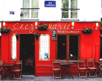 Paris Photography, Montmartre, Paris, Red, France, Street, Home Decor, French, Fine Art Prints, Wall Art, Montmartre photos, Facade