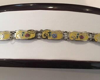 Vintage Sterling Silver 925 Yellow Enamel Flower Floral Link Bracelet