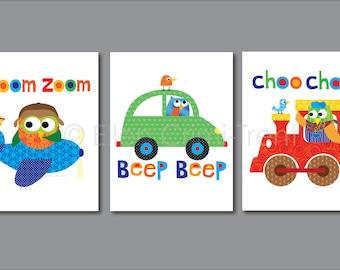 Kids Wall Art- nursery print set- Transportation|baby boy decor| boy nursery decor