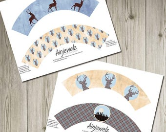 cupcake wrappers Scotland party download Scottish printable fraser plaid tartan cake wrappers hogmanay new year standing stones stag deer