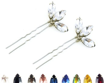 Lotus Rhinestone Hair Pins - Bridal Crystal Hair Pins, Rhinestone Wedding Hair Accessories