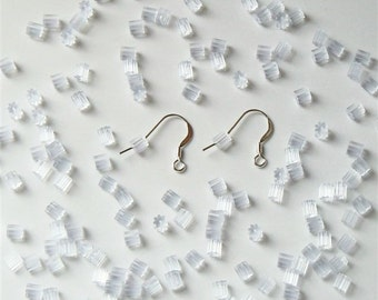 144 Clear Rubber (Plastic) Ear Wire Guards - Ear Nuts - Earring Backs - Stoppers