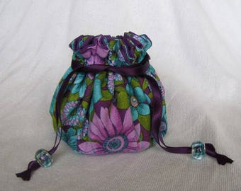 Jewelry Bag - Medium Size - Fabric Jewelry Pouch - Drawstring Travel Tote - PURPLE FLIRT