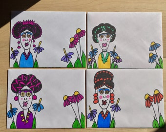 4 Blank Notecards/  Decorated Envelopes /Frida Kahlo/Stationery /Fun Mail/ card/ letter/ penpal