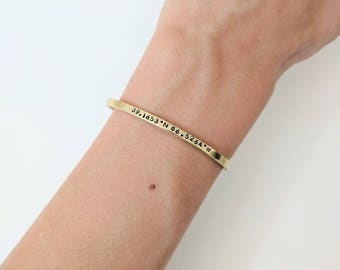 Dainty Coordinate Bracelet // Gold Brass Coordinate Cuff + Custom Coordinates + Friendship Bracelets + Best Friend Bracelet + Gift for her