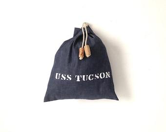 vintage mid CENTURY uss TUCSON small cork closure TOILETRY bag