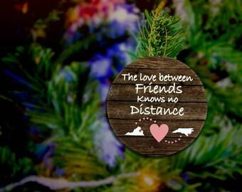 Long Distance Friendship Ornament Distant Friendship State Ornament Best friends Ornament Rustic Friendship Ornament Besties Ornament