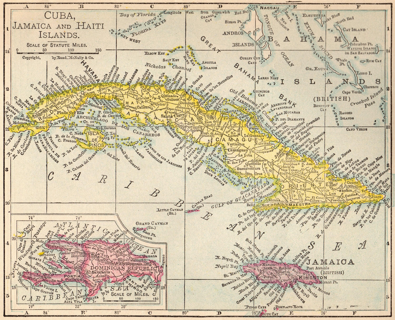1917 Antique CUBA Map Vintage Jamaica Map Bahamas Map Pretty