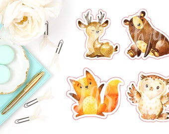 Forrest Animal Die Cut Characters- Owl Fox, Deer & Bear