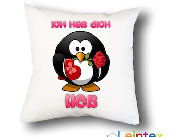 Pillowcase 40x40 pillow penguin i love you No24
