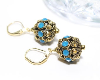 Faberge Style Ball Earrings with Swarovski Crystals in Blue and Gold Aurum