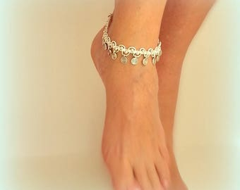 Boho bridal anklet, White anklet, Beach wedding accessories, Belly dance anklet, Hippie ankle bracelet, Foot jewelry, Bohemian outfit,