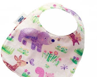 Spring Sale Girly Woodland FRIENDS- Infant or Toddler Bib - ADJUSTABLE snaps - REVERSIBLE plus burp cloth