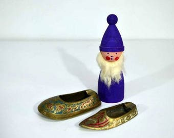 Vintage Brass Shoe Ashtray India and China Painted Set of Two