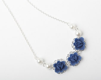 Navy blue Flower girl necklace, blue rose necklace, Navy blue wedding jewelry, Flower Girl gift, junior bridesmaid gift, delicate necklace