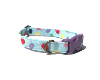 Easter Eggs - Fun Light Blue Colorful Easter Eggs Organic Cotton CAT Collar Breakaway Safety - All Antique Metal Hardware
