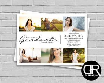 CUSTOMIZABLE 6 Photo Grad Party, Open House, or Graduation Ceremony Invitation! Gray and White Digital Download Only.