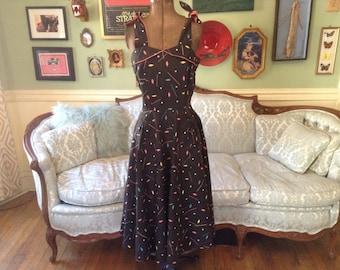 1950s Sun Dress Astro Print Full Skirt / Rockabilly Dress / Vintage Dress