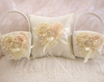 Two Flower Girl Baskets and Pillow -  Ivory Blossom  Ring Bearer Pillow, Flower Girl Basket Set Vintage CUSTOM COLORS