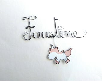 "Name personalized wire ""unicorns I love them"""