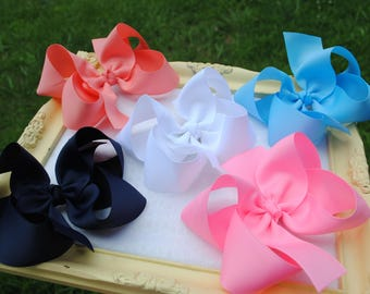 "5"" Boutique Hair Bow Set - Large Bow Clips - 4"" Boutique Bow Pack - Pick 4 or 5 Inch Bow - Back to School - Uniform Hair Bow - Basic Hairbow"
