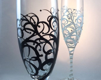 Wedding Toasting Flutes, hand painted swirls with crystals, optional personalization