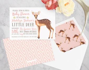 Little Deer Watercolor Baby Shower Invitation, Fawn Baby Baby Shower Invitation, Woodland Animal Baby Shower, Envelope Liner