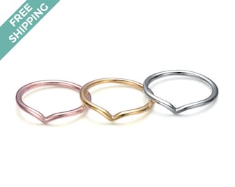 Sterling Silver Bent Stack Ring Set