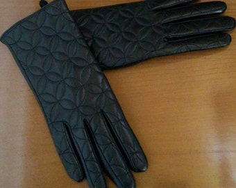 New!Natural,Real BLACK Leather GLOVES!