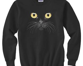 Crewneck Sweatshirt / Yellow Eyed Cat