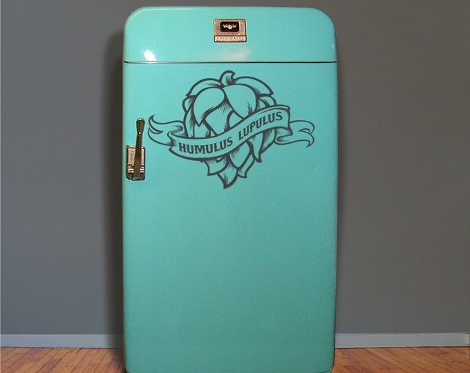 craft beer fridge decal, hops kegerator vinyl sticker, mini fridge craft beer sticker, hop head, beer decal, beer wall decal