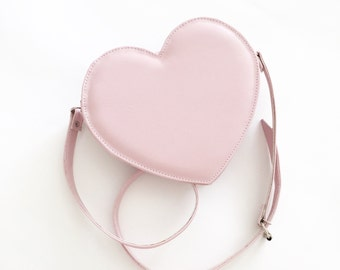 Pastel Pink Heart Faux Leather Crossbody Bag (Ready to Ship)