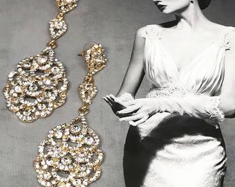 Bridal Chandelier Earrings, Wedding earrings, Bridal Wedding Jewelry, crystal chandelier earrings, Prom earrings, Silver, Gold Earrings