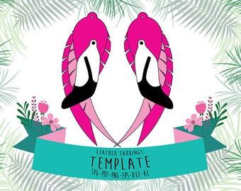 Flamingo earrings cricut svg, tropical decor cut file, laser cut earrings, Tropical flamingo party svg, hawaiian jewelry, hot pink earings