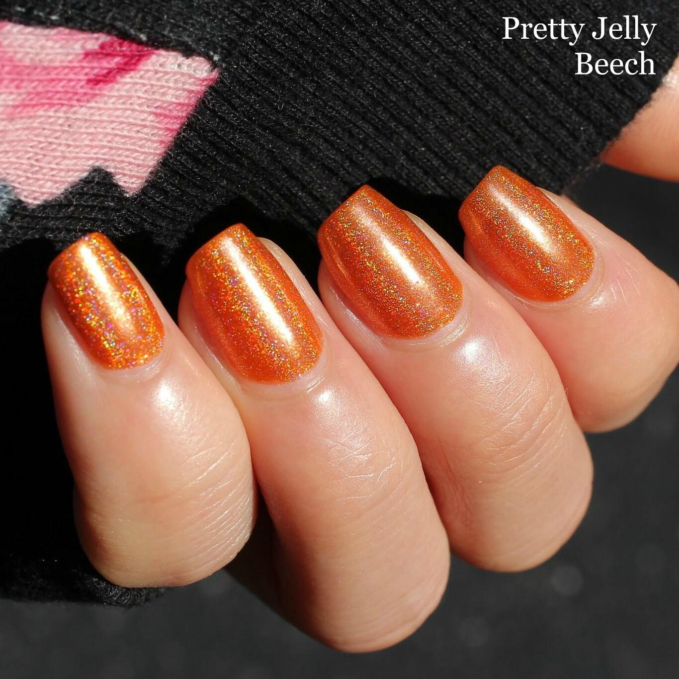 Nail Polish, Holographic, Indie Nail Lacquer, Orange Nail Color ...