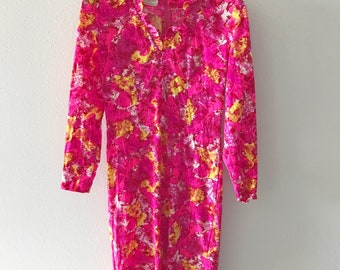 Vtg 70s Wilroy day Dress Midi Floral Ruffled house pink long sleeve small