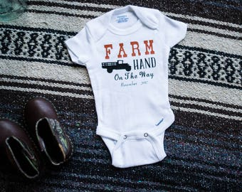 Farm Hand On The Way, Pregnancy Announcement, Pregnancy Onesie, Announce Pregnancy, Pregnant, Onesie Announcement, Farm Announcement