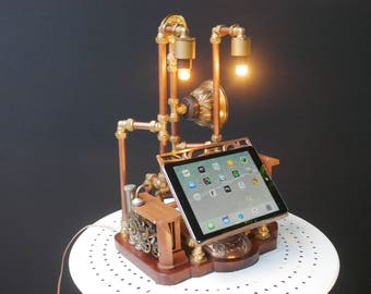Unique iPad Steampunk Station Lamp with Bluetooth Speaker and Clock