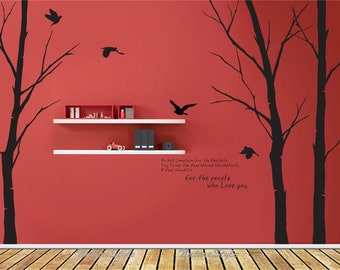 Winter Wall Decal Trees Nursery Wall Decal Vinyl Wall Decal Letters Wall  Decal Sticker Flying Birds