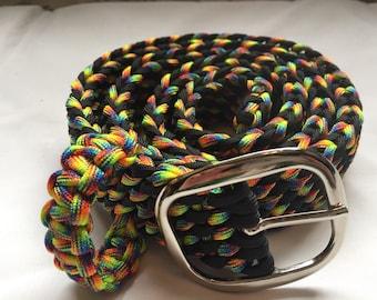 "Rainbow paracord belt (fits 34""-38"")"