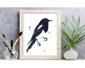 MAGPIE Watercolor Print, magpie painting, magpie print