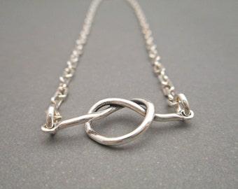 Silver Anklet - Silver Ankle Bracelet - Knot Bracelet - Womens Jewelry - Womens Bracelet - Dainty - Minimalist Jewelry - Best Friend Gift