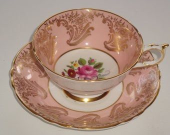Paragon England Floral Spray Pink and Gold Cup and Saucer ~ Pattern A4299