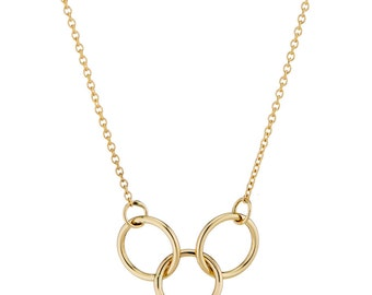 """14K Gold Interlocking Trio Rings Necklace, """"Just The Three Of Us"""", Gift for Her, dainty necklace, Available in white gold and rose gold"""