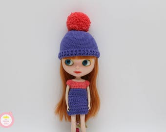 Outfit and cap with pom-poms for Blythe