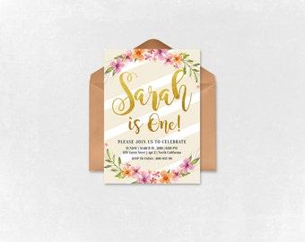 Baby Girl Birthday Invitation - She is One- Pink Birthday Invitation - Printable  Birthday Invitation -  Baby Girl 005