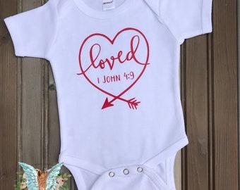Loved Infant Baby Short Sleeve Bodysuit, 1 John 4:9, Baby Shower Gift, Christian Baby Gift, Size 0-3 month, Ready To Ship