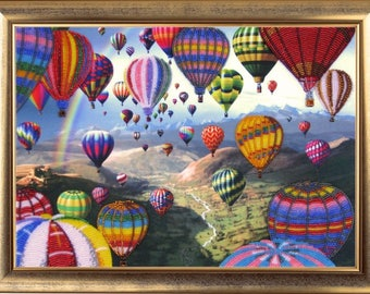 Hot Air Balloons DIY bead embroidery kit beaded painting craft set needlepoint beadwork